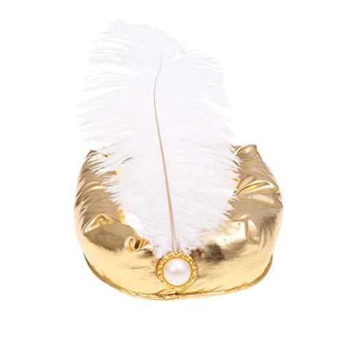 Amosfun Cosplay Stirnband des arabischen Huthalloween Feder-Sultanprinzenhutsultan-Kostüms - Golden Angel Kostüm