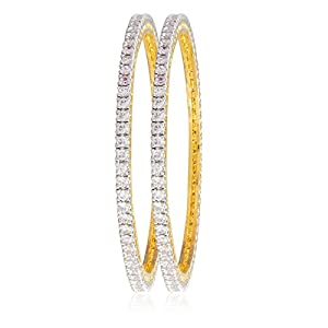 Shining Jewel 24K Gold Plated American Diamond CZ Solitaire Bangles for Women