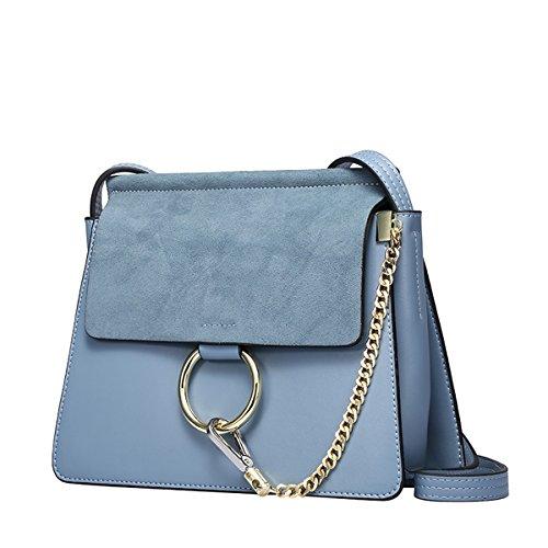 Dissa Q0750 Damen Leder Handtaschen Top Handle Satchel Tote Taschen Schultertaschen,26x7x22 B x T x H (cm) Blau