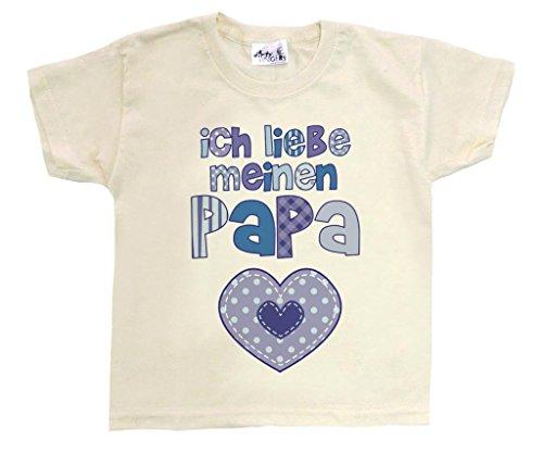 Dirty Fingers, Ich Liebe Meinen Papa, Herz, Jungen T-Shirt, 9/11 Jahre, Beige
