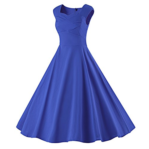 LUOUSE Damen Audrey Hepburn 50s Retro Vintage Bubble Skirt Rockabilly Swing Evening Kleider V066-DarkBlue