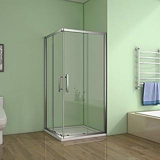 Aica Bathrooms 900x800mm Corner Enter Enclosure 6mm Glass Sliding Shower Door, Metal, Chrome