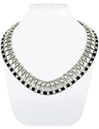 Ce'lavy Black & Silver Steel Finish Statement Necklace For Girls & Women
