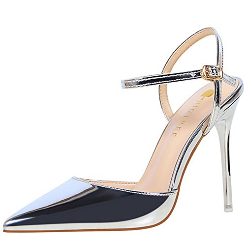 Azbro Women's Pointed Toe Ankle Strap High Heels Slingback Sandals Silver