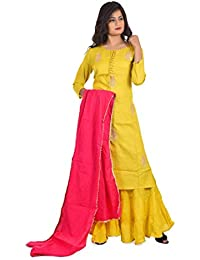 048b5b832d3 Amazon.in  Yellows - Salwar Suits   Ethnic Wear  Clothing   Accessories