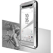 Love Mei Funda para Sony Xperia Z5(5.2pulgadas), prueba de choques a prueba de polvo de metal de aluminio con tapa de cristal Gorilla * two-years garantía *