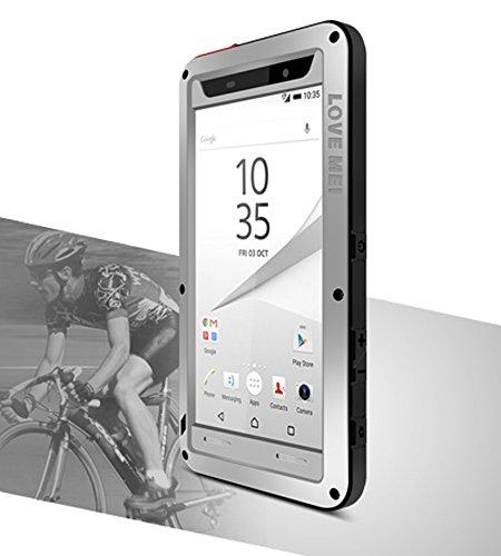 Étui pour Sony Xperia Z5Compact (11,7cm), Love Mei marque aluminum-silicone hybride Coque anti-chocs étanche en métal * * * * * * * * * * * * * * * * Garantie de deux ans argent