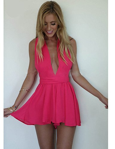 GSP-Combinaisons Aux femmes Sans Manches Sexy/Décontracté/Grandes Tailles Mousseline de soie Fin Non Elastique blue-l