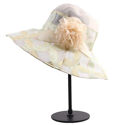 Mme Chapeaux été Chapeaux De Mode Haut De Gamme Chapeau De Soie Pliable Chapeau De Voyage En Plein Air Beige