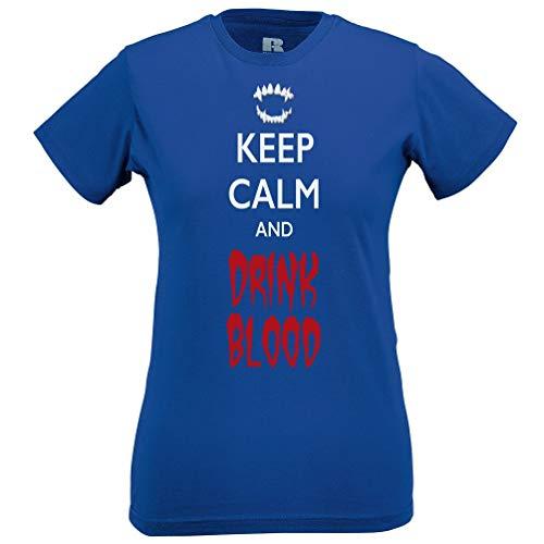 Halloween Frauen T-Shirt Halten Sie Ruhe und Trinken Blut Blue XX-Large