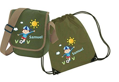 Mein Zwergenland Set 4 Kindergartentasche und Turnbeutel mit Namen, 2-teilig