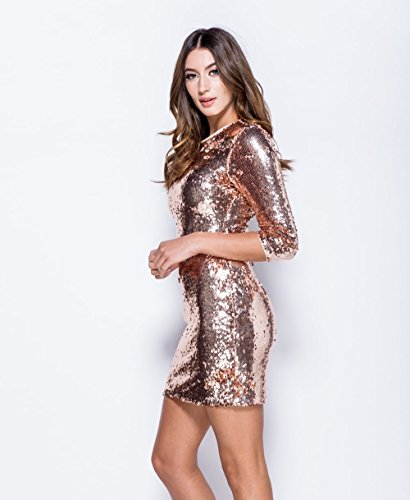 Ladies Sequin Round Neck Manche 3/4 Robe Bodycon EUR Taille 36-42 Nu