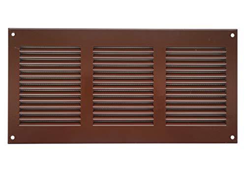 Lüftungsgitter 300 x 150mm, Braun, aus Stahlblech, Wetterschutzgitter mit Insektenschutzgitter