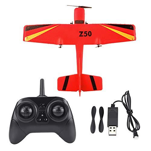 Dilwe Giocattolo Aereo RC, 2.4G ZC-Z50 Aliante a Controllo Remoto ad Ala Fissa EPP Aeroplano di Modello(Rosso)