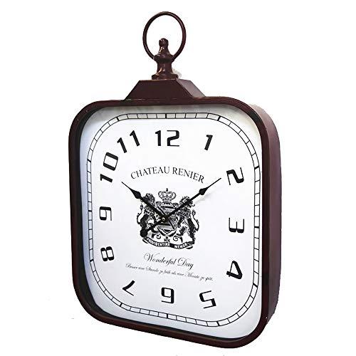 Xbr shack square orologio da parete stile retrò cornice rossa opaca viso crema e mani nere numero decorativo decorato da parete per soggiorno ristorante ufficio bar cucina
