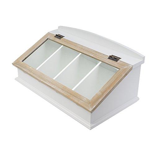 elbmöbel Besteckkasten mit Glasdeckel aus Holz (Braun) Besteck Aufbewahrungsboxen