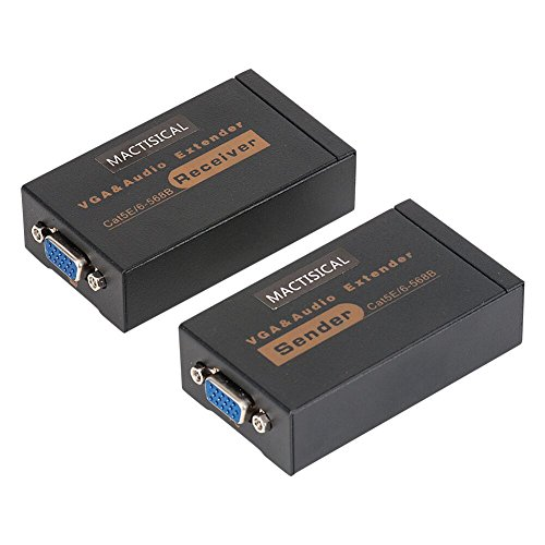 VGA-Extender, mACTISICAL 60 m VGA Transmitter + Receiver über Cat5e Cat6 Ethernet Kabel 1080P Audio Support (Sender + Empfänger) 328ft/100m Sender+Receiver 1080p-hdtv-extender-kit