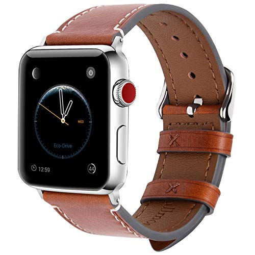 Fullmosa 8 Farben Für Apple Watch Armband 42mm(44mmSeries 4), Wax Series iWatch Leder Band/Armbänder für Apple Watch Series 4,3, 2, 1,42mm(44mm) Uhrenarmband, Dunkelbraun + Silber Schnalle Apple Farbe