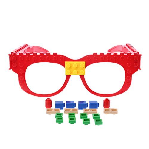 JERKKY Brille Blöcke Grundplatte DIY Spielzeug Brillengestell Ziegel Kompatibel mit Legoed Gelb