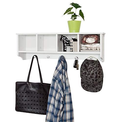 Sobuy® frg48-l-w, portachiavi da parete, appendichiavi, appendiabiti, mensola da bagno, bianco,l72cm,it