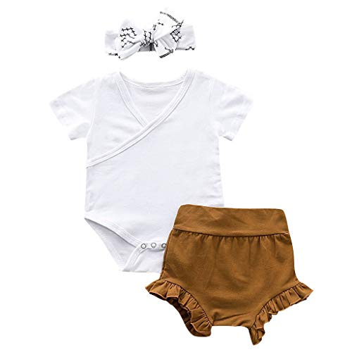Babykleidung Mädchen Sommer,Covermason Säugling Neugeborenes Junge Mädchen Strampler Pure Farbe Overall+ Shorts + Haarband Outfits Set Overall-shorts-outfit