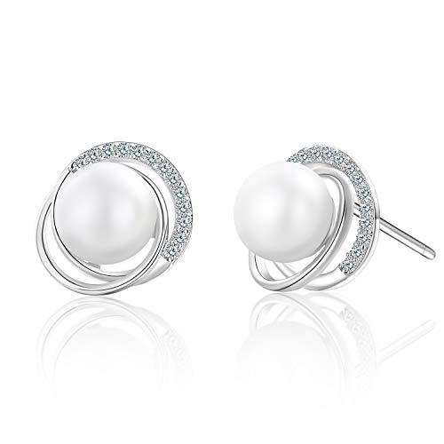 Perle Ohrringe 925 Sterling Silber Elegante Süßwasser Perle Ohrstecker für Frauen