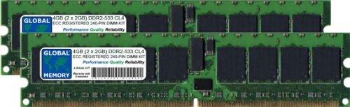 GLOBAL MEMORY 4GB (2x 2GB) DDR2533MHz PC2-4200240-PIN ECC Registered DIMM (RDIMM) Arbeitsspeicher Kit für Servers/WORKSTATIONS/MAINBOARDS (4RANK KIT Non-chipkill) - 533 Mhz-pc2