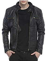 Urbano Fashion Men's Black Faux Leather Jacket