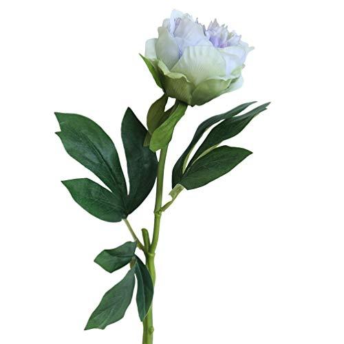 (Tagether Künstliche Seide Gefälschte Blumen Blatt Daisy Seidenrosen Plastik Köpfe Hochzeitsblumenstrauß für Haus Garten Floral künstliche Flanell Blume Brautstrauß feier Home Decor(Blau))