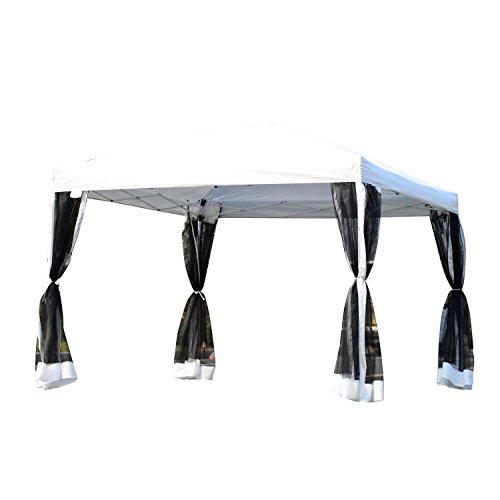 Outsunny Pavillon Faltzelt mit Seitenwänden inkl. Tragetasche, Metall+Oxford, Weiß, 3x3x2,55m Faltpavillon