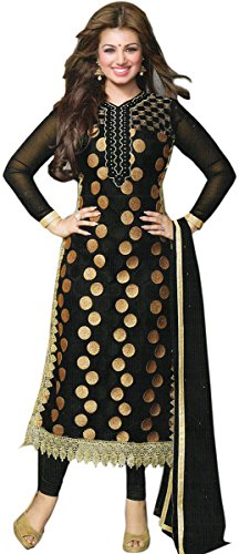 Exotic India Ayesha Long Kameez Choodidaar Suit with Embroidered Bootis and Croc...