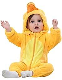 Vovotrade Bebé Niña Niño Manga Larga Dibujos Animados Animal Encantador Amarillo Pato Cola Cremallera Mameluco Mono Algodón Franela Suave Disfraz Pijama Conjuntos 0-4 años