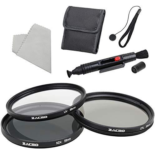 Zacro - Kit di filtri UV per fotocamera reflex, ND4, CPL, con pennarello, sacchetto filtro, corda anti perdita, panno in microfibra