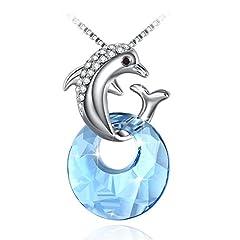 Idea Regalo - Collana Donna Fairy Season Dolphin Ciondolo con Luna Blu Cristalli di Swarovski Pendente Gioielli Confezione Regalo Idee Regalo Donna