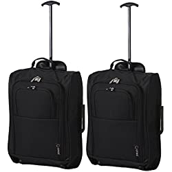 5 Cities The Valencia Collection Equipaje de cabina SET OF 2 TB023-830 Black, 55 cm, 42 L, Negro