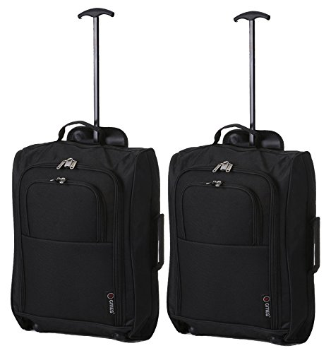 5 Cities The Valencia Collection Handgepäck SET OF 2 TB023-830 Black, 55 cm, 42 L, Schwarz (Weichgepäck-räder)