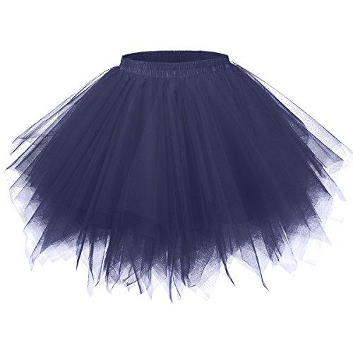 GirstunmBrand Damen 50er Vintage Tüllrock Petticoat Mehrfarbig Bubble Tanzkleid Rock Navy-L/XL Navy Bubble