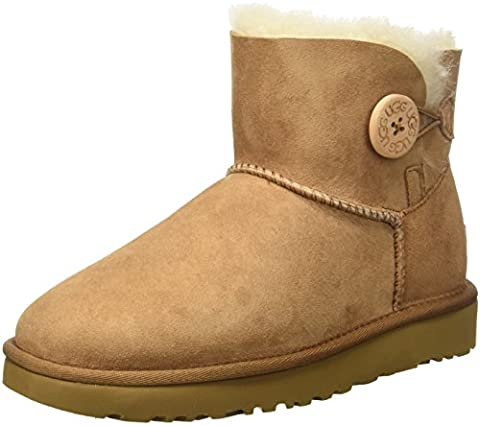 UGG Damen Mini Bailey Button Kurzschaft Stiefel, Braun (Chestnut), 36 EU