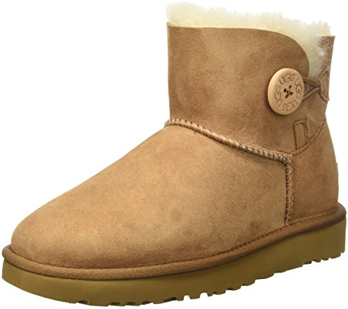 UGG Mini Bailey Button, Bottes courtes Femme, Marron (Chestnut), 39 EU