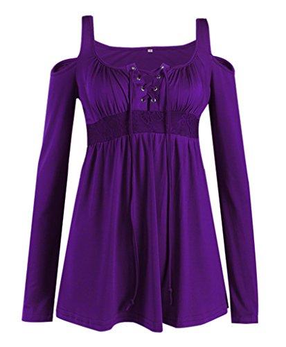 Bigood Chemise Epaule Nue Femme T-shirt Tops à Manches Longues Blouse Haut Casual Soirée Violet