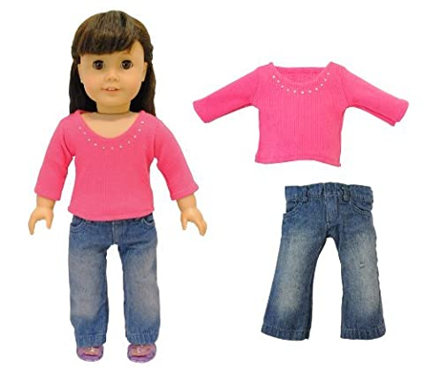 Doll Clothes - 2 Piece Doll Clothing Set Fashion Jeans and Long Sleeve Shirt Fits American Girl Doll, My Life Doll, Our Generation and other 18 inch Dolls by Pink Butterfly Closet