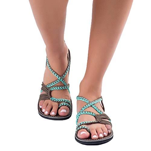 Sandali da donna da estate, modello con infradito pu cuoio bassi sandali elegante bohemia perline decorare a forma di fiore