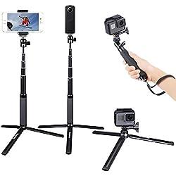 Smatree SQ2 Bastone Selfie Monopiede Telescopico Allungabile con Treppiede per GoPro Hero 2018, Hero 6/5/4/3+/3/2/1/Fusion/Session/ Ricoh Theta S/V, M15 Fotocamere Compatte e Smartphone