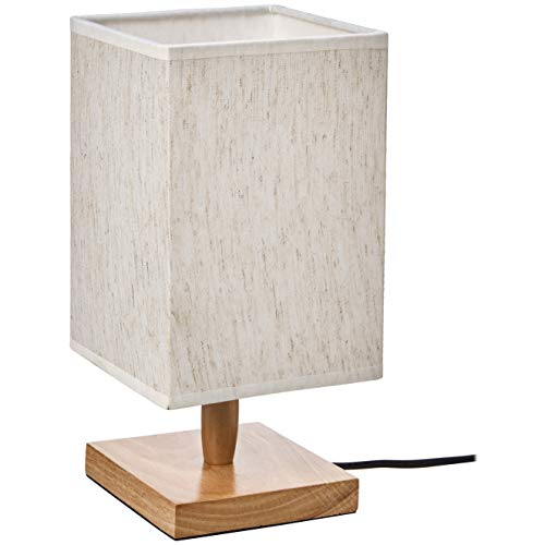 UMI Table Lamp Fabric Shade with Rectangular Wood Base, 11.2''