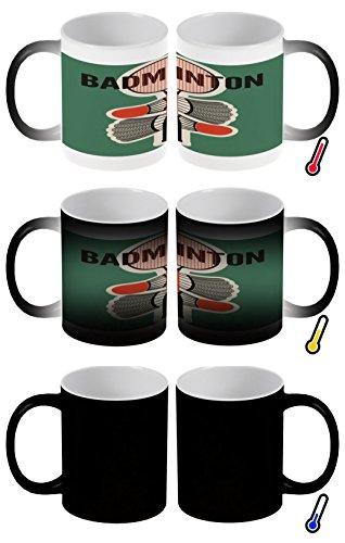 LEotiE SINCE 2004 Zaubertasse Farbwechseltasse Kaffeebecher Tasse Becher Latte Cappuccino Espresso Sport Badminton