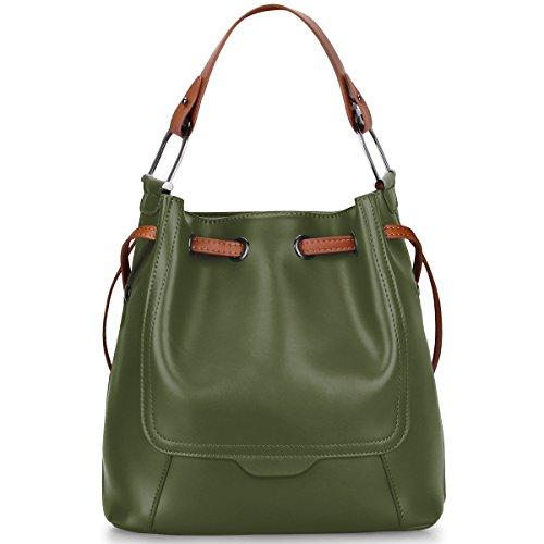 S-ZONE Borsa di moda femminile, in vera pelle tote spalla crossbody borsa messaggero borse signore borsa borsa (rosso) Verde dell'esercito