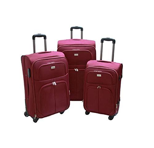 SLmilano Trolley valigia set valigie semirigide set bagagli in tessuto super leggeri 4 ruote piroettanti trolley piccolo adatto per cabina con compagnie lowcost art.214 (bordeaux)