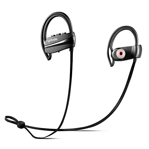 yobola Best Long Standby Wireless In Ear Sports Bluetooth Headphones Sweatproof Earphones for Running Noise Cancelling Earbuds with Mic - 11 Hours Play Time - Black