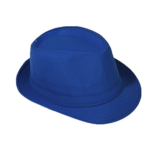 Strohhut Panama Fedora Trilby Gangster Hut Sonnenhut mit Stoffband Farbe:-Marine Gr:-58