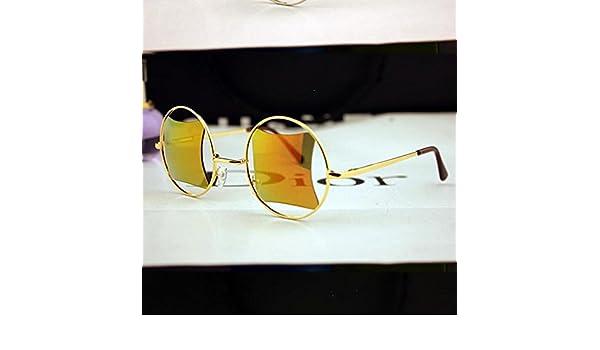 Z&YQ Sonnenbrille Runde hohle viereckige Farbfilm Reflektor Spiegel Gläser , silver frame blue reflection